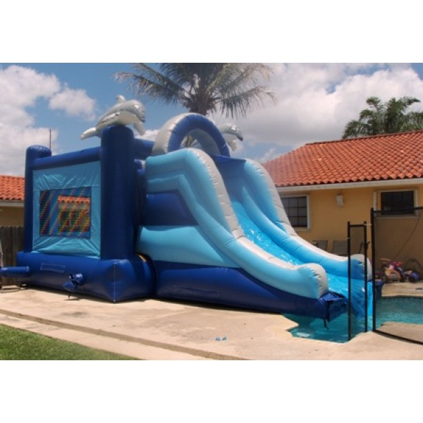 Inflatable Water Slide To Rent: Dolphin Bounce House Water Slide Rentals