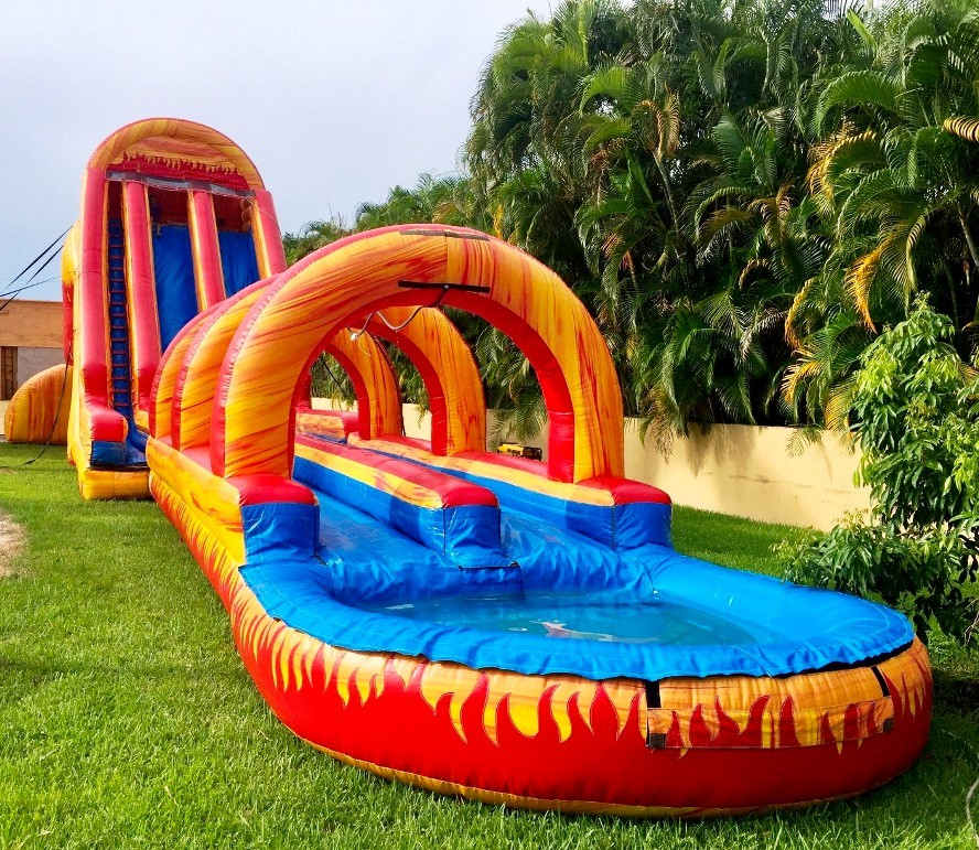 Inflatable Water Slide To Rent: Dual Volcano Water Slide Rentals Miami