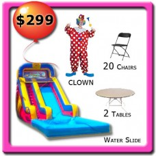 1 Clown - 1 Water Slide - 2 Tables - 20 Chairs