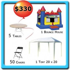 1 Tent 20x20 - 5 Tables - 50 Chairs - 1 Bounce House